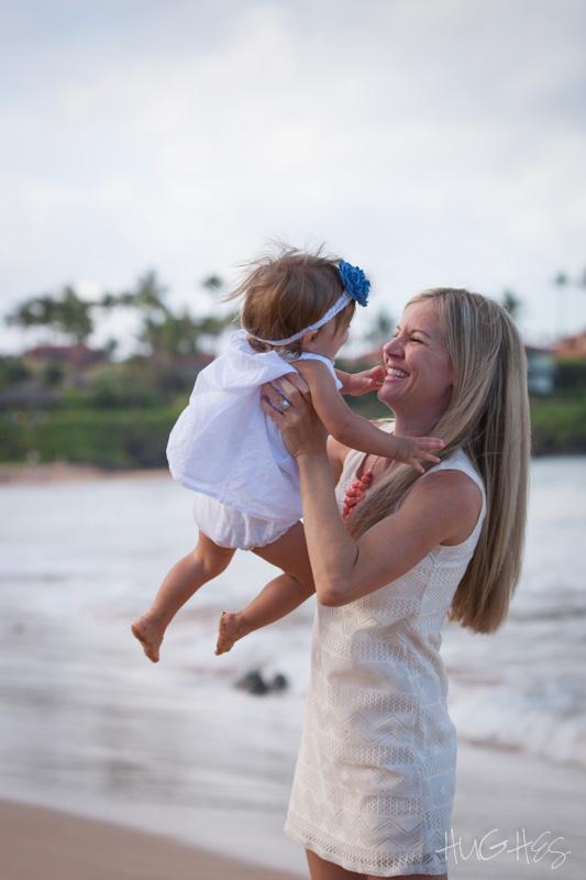 family mom infant portrait, waliea beach, maui