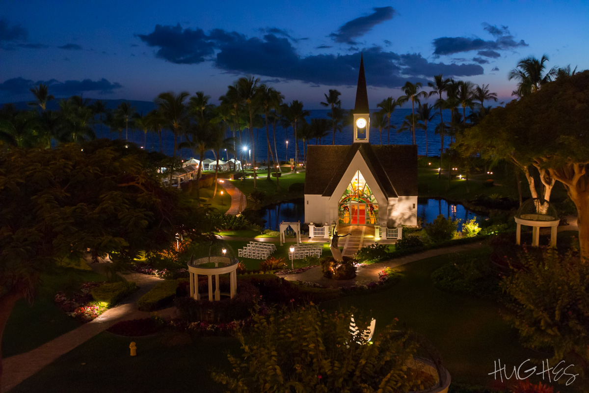 Grand Wailea Seaside Chapel Dusk - - Maui Wedding Photographer