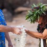 Makena wedding, male couple, maui lei ceremony