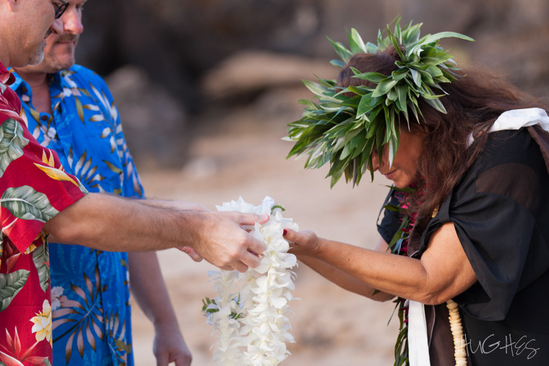 Makena wedding, male couple, maui lei ceremony