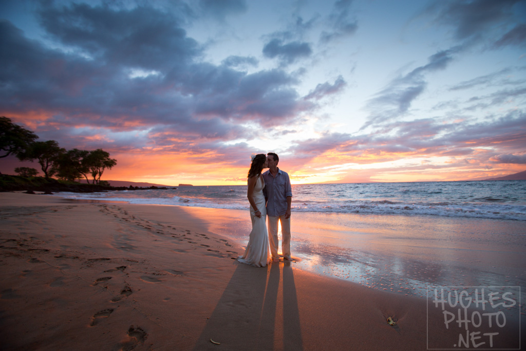 Great Sunset Sky Follows a Makena Beach Wedding