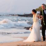 Wedding Couple Crashing Waves Wailea Beach