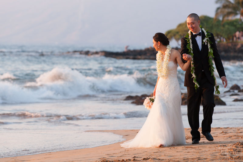 Wedding Couple Crashing Waves Wailea Beach